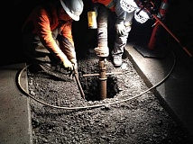 SUBMITTED PHOTO - Crews drill holes near Southwest Bonita Road in Tigard. Major construction is expected in the area over the next two months, beginning this week.