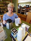 TIDINGS PHOTO: CLIFF NEWELL - Sally La Follette's cookies have turned Royal Treatment Fly Shop into home sweet home on Saturdays for customers. Coffee even comes with the cookies.