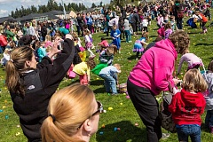 COURTESY OF LISA DILLON PHOTOGRAPHY - Dozens of kids and their parents scattered out at Laurel Ridge Middle School April 4 looking for colored eggs filled with candy and prizes in the annual Egg Hunt for Hope.
