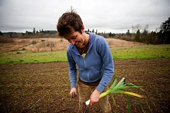TRIBUNE FILE PHOTO: CHRISTOPHER ONSTOTT - Bryan Allan harvests winter vegetables at Zenger Farms. Tax relief for urban farmers has made progress, but issues still exist.