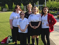 SUBMITTED PHOTO - The proud SkillsUSA team from Reynolds High School (left to right) Tori Sweetland, Janella Swick, advisor Cathy Behm, Carlee Woodward and Diyora Sadaat.