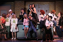 COURTESY PHOTO: CRAIG MITCHELLDYER - Forest Grove native Justin Canfield is up for the challenging dance and music scenes in Broadway Rose's production of 'Grease.' He's front and center here in the hat and leather jacket.