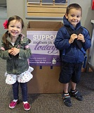 SUBMITTED PHOTO - Asher (right) and Abigail Jette, both students at King's Kids Christian Preschool in Lake Oswego where there is a collection box for Movers for Moms.