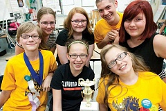 KEVIN SPERL - The Crook County Middle School Pentagames math competition team finished second overall in Hermiston last weekend. Front row from left are: Jacob Lester, Olivia Cooper, and Kandace Bingham. Back row from left: Jenna Porter, Casey Tunison, Chris Easlon, and Taylor Wanous. Missing from the photo are Josie Graydon and Hazel Hoffman.