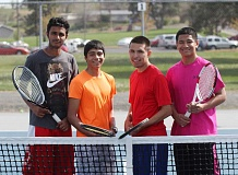 JEFF WILSON/THE PIONEER - The memebrs of the top two Madras boys doubles team, from left, Simon Singha, Obie Eriza, Jered Pichette and Omar Dominguez, hope to advance to state during next week's district tournament.