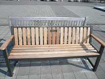 SUBMITTED PHOTO - After 15 years of its opening, the benches at Millennium Plaza Park need to be replaced. This is your opportunity to purchase one or more in honor of your family or other loved ones.