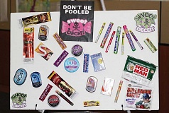 HOLLY M. GILL - Minda Morton put together a display comparing e-cigarettes and tobacco products to the packaging for candy.