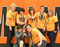 SUBMITTED PHOTO - The Coolio Shrimp Doolios are eighth-graders at Athey Creek Middle School. Their Destination Imagination team is heading to the DI global competition next week.