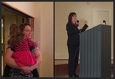 CASA FOR CHILDREN OF MULTNOMAH, WASHINGTON AND COLUMBIA COUNTIES PHOTO - Lindsey King, left, of Columbia County's CASA program, comforts a foster child during a recent fundraiser breakfast for the program. To the right, Judge Jenefer Grant addresses supporters during the fundraiser.
