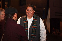 TRIBUNE PHOTO: ADAM WICKHAM - Graduating senior Ramzees Gallegos recieves his Honor Sash at the ceremony recognizing Native American students and graduates.
