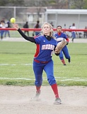 JEFF WILSON/THE PIONEER - Madras senior Shelby Mauritson throws to first to get an out during the Buffs' home finale Friday with Gladstone.