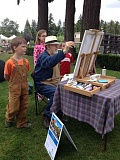 SUBMTTED PHOTO - Bob Foster participated in last years Plein Air Lake Oswego event. People enjoy watching the artists in action.