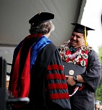 COURTESY PHOTO - Eddie Carrillo of Milpitas, Calif., a first-generation college student and sociology major, receives his diploma during commencement Saturday. He has been accepted into Pacifics School of Professional Psychology for graduate studies.