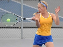 LON AUSTIN/CENTRAL OREGONIAN - Elsa Harris has qualified for her fourth-consecutive state championship. Harris defeated Cascade's Sarah Teubner 6-2, 6-1 in Wednesday afternoon's semifinal round to reach the Special District 1 championship round, which was held Thursday in Madras.