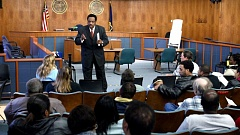 TRIBUNE FILE PHOTO - Roy Jay, president of the Independent Development Enterprise Alliance, conducted a 2005 meeting of Operation Clean Slate. State Department of Justice officials want extensive financial records for two groups as part of an investigation.
