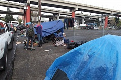 COURTESY OF PPB - Portland police begin this week telling homeless campers to move their structures from the public rights of way in the Central Eastside Industrial District.