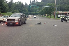 SUBMITTED PHOTO - A driver crashed into a bicyclist Friday afternoon in Cedar Mill, seriously injuring the cyclist. The driver was cited Tuesday.