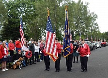 BARBARA SHERMAN - The Tigard American Legion Post 158 Color Guard presents the U.S. and Oregon flags at the beginning of the annual Memorial Day ceremony in Crescent Grove Cemetery in Tigard.