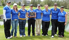LON AUSTIN/CENTRAL OREGONIAN - The Crook County High School girls golf team stands with the fourth-place trophy that they won at the Class 4A/3A/2A/1A State Golf Championships, which were held Monday and Tuesday at Eagle Ridge Golf Course in Redmond. The team, from left to right, is Head Coach Sarah Crofcheck, Michaela McGrew, Abby Papke, Macy Goehring, Cora White, alternate Miranda Smith, Maddie Kasberger, and assistant coach Kim Crofcheck.