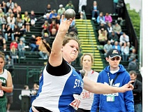SETH GORDON - Power shot - Emma Coleman competes in the shot put Friday at the 2A state championships in Eugene. Coleman placed second in the shot and discus to help St. Paul place 10th.