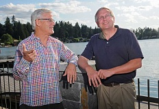 REVIEW PHOTO: VERN UYETAKE - In the afterglow of easy election victories, Bob Barman (left) and John Wallin both say theyre excited about helping the Lake Oswego School District move forward.