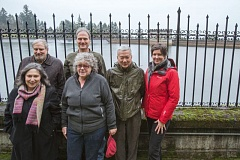 PHOTO CREDIT: TRIBUNE PHOTO : JONATHAN HOUSE - Mount Tabor activists walk along one of the open reservoirs the City Council wants to disconnect by the end of the year.