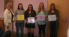 TERESA TOOLEY - Arline Joyce, president of the Soroptimist Club of Prineville, presented awards to the scholarship recipients at their weekly Tuesday luncheon. Pictured left to right are Joyce, Haleigh Cook, Professional Technical Award; Emily Kreachbaum, Scholarship Award; Kayla Hamilton, Scholarship Award; and Karli Tooley, Fay Bentley Memorial Scholarship. The Dine for Scholar Dollars event is one of several fundraisers held throughout the year.