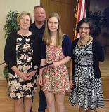 COURTESY PHOTO - Forest Grove High School senior Gina Johnson (center) was named a Youth Citizen for May by the Forest Grove Rotary Club May 27.