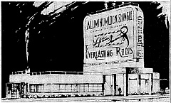 This architectural drawing of the sign addition to the building at S.E. Powell Boulevard at 6th will identify for you the sign this article discusses - you have surely seen it many times! This drawing appeared in the Oregonian, in a news item describing the project as it was to be built.    This architectural drawing of the sign addition to the building at S.E. Powell Boulevard at 6th will identify for you the sign this article discusses - you have surely seen it many times! This drawing appeared in the Oregonian, in a news item describing the project as it was to be built.