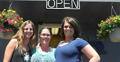 STEVE DUNN - County Line Coffee Company owner Ashley Yancey (center) poses for a photo with her two employees, Layne Puckett (left) and Channele Fulton (right).