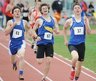 LON AUSTIN/CENTRAL OREGONIAN - The Crook County Cowboys return a strong distance contingent next year including (left to right) Tyler Lawson, Liam Pickhardt and Emmett Bailor who finished second, third and first, respectively, in the 800 at the Tri-Valley League District championships.