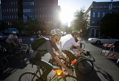 TRIBUNE PHOTO: JONATHAN HOUSE  - Cyclists kicked off Pedalpalooza earlier this month. As more people take to the streets by bike and foot this summer, city leaders are urging more mindful behavior by all.
