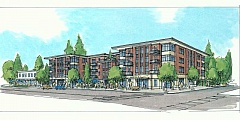 COURTESY OF URBAN ASSET ADVISORS - A preliminary drawing from SERA Architects shows the proposed four-story apartment and retail complex that Urban Asset Advisors is planning for the corner of Southwest Capitol Highway and Southwest 33rd Avenue in Multnomah Village.