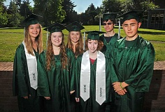 PAMPLIN MEDIA GROUP PHOTO: VERN UYETAKE - Erica Ewton (from left), Madison Horn, Britta Vlastelicia, Jennifer Piacentini, David Anuta and Edward Sho Szczepanski are Wilson High School's 2015 valedictorians.