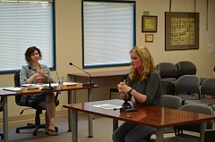 SPOTLIGHT PHOTO: MARK MILLER - BG Aguirre, principal of St. Helens High School, speaks at a Wednesday, June 24, school board meeting about the dearth of credit recovery options for students at her school. Also pictured: Jessica Pickett, business manager for the St. Helens School District.