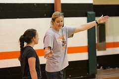 JIM BESEDA/MOLALLA PIONEER - Lauree Nelzen has two daughters, Emma and Grace, in the Molalla High School volleyball program.