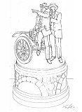 CONTRIBUTED PHOTO - This sketch depicts what the statue donated to Troutdale by Rip Caswell would look like, featuring founders of the Historic Columbia River Highway Sam Hill and Sam Lancaster.