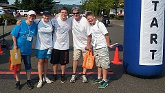 SUBMITTED PHOTO - Pictured during last year's SHOC Foundation Walk & Run is this years keynote speaker Tami Ward, daughter, Maggie, 14, son, Henry, 17, husband, Chris, and Zachary McKnight, 13.