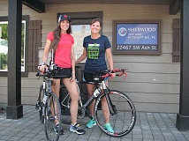 GAZETTE PHOTO: RAY PITZ - Annie Ballard and Shauna Zobrist will soon compete in the Ironman 70.3 World Championship where they will swim 1.25 miles, bike 56 miles and run 13 miles.
