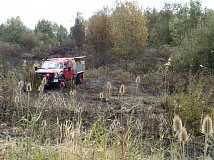 SUBMITTED PHOTO - TVF&R crews worked to put out two brush fires at the same location near Tualatin on Monday.