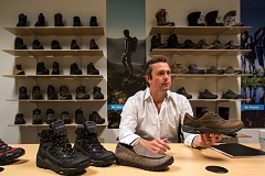 TIMES PHOTO: JONATHAN HOUSE - Surrounded by his company's shoes, Hi-Tec America CEO Simon Bonham talks about the design philosophy behind their products.