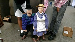 COURTESY PHOTO - Years ago these two-foot-tall ceramic dolls were made for Washington County Disability, Aging and Veteran Services in Hillsboro by a man from Forest Grove, according to Janet Long, who works at the agency. WCDAVS is in the process of moving its offices, and Long is asking for the publics help locating the man who created the elderly lifelike dolls, or his family members, to see if theyd like them back. Contact Long at janet_long@co. washington.or.us or call 503-846-3081.