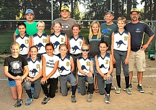 DAVID F. ASHTON - Meet the 2015 Blue Kangaroo Fast Pitch team (back row, from left): The coaches - Matt Herman, Nate Hyde, Mike Rose, and Chris Maykut; (middle row, from left): Ryen Ryno Herman, Jerica Jet Baker, Ally A-train Hyde, Ashleigh Smash Geyler, Brooke Bear Poff, Luna Lunatic Fost; and (front row, from left): Hayley Haybomb Poff, Sofia Fireball Maykut, Gabriella Gabs Ventura, Anne Crazy 8 Brauckmiller, Selaam Swagger Ferdig, Lucy Lu Rose.