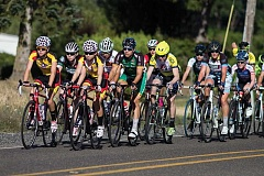 NEWS-TIMES PHOTO: CHASE ALLGOOD - A group of cyclists from last week's USA Cycling regional talent identification camp go on a guided ride near Forest Grove last Thursday. The camp annually draws some of the Northwest's top junior cyclists.