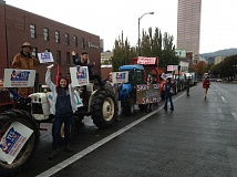 COURTESY YES ON 92 CAMPAIGN - Backers of GMO product labeling demonstrate in Portland during the Measure 92 campaign last year.