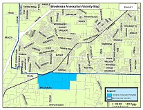 COURTESY OF CITY OF SHERWOOD - Here's the Brookman Road area in aqua blue, which would be annexed if the Sherwood City Council decides to put the measure on the November ballot.