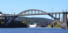 PHOTO BY: ANYI WONG-LIFTON - As the Oregon City Tour and River Cruise approached its destination, passengers got a view of the Oregon City Arch Bridge, Willamette Falls, and the former Blue Heron Paper Co. mill.