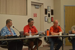 COURTNEY VAUGHN - Columbia River People's Utility District Directors Harry Price, Jake Carter and Dave Price discuss matters with district staff Tuesday, Aug. 18. The board opted to wait for more cost models before finalizing new energy rates for customers.