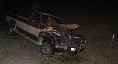 WASHINGTON COUNTY SHERIFF'S OFFICE - A woman was critically hurt and her horse killed when hit by this pickup at Northwest Shadybrook and Pumpkin Ridge roads, on Saturday.