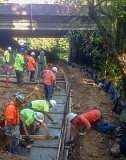 COURTESY OF PAUL HENNON - Construction workers put down concrete footings for the section of the Greenway Trail under construction beneath Interstate 5 in Tualatin.